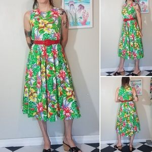 Vintage 1980s Rafferty tropical fliral midi dress